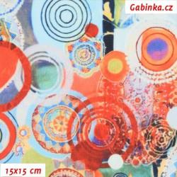 Kočárkovina Premium, Abstraktní kolečka oranžová a sv. modrá, 15x15cm