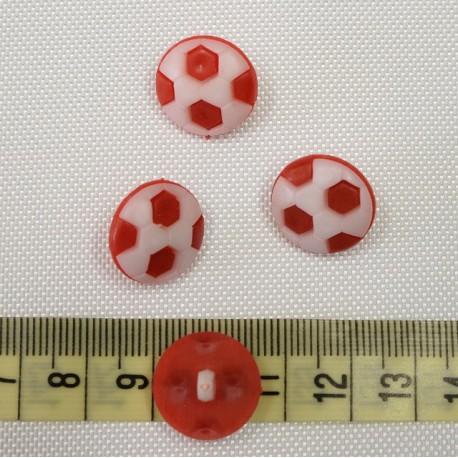 Dětský knoflík - Fotbalové míče červené