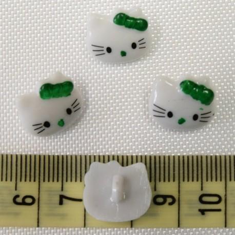 Dětský knoflík - Hello Kitty zelené