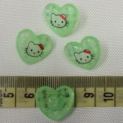 Dětský knoflík - Hello Kitty na zeleném srdíčku