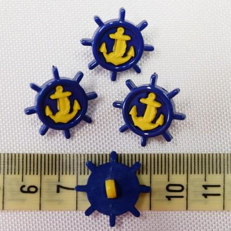 Dětský knoflík - Kormidlo s kotvou modro-žluté