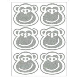 Reflexní nažehlovací potisk - Opice - hlavy - výplň (6 ks)
