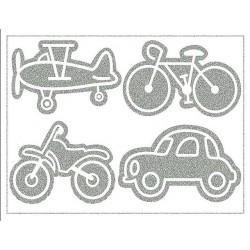 Reflexní nažehlovací potisk - Auto, kolo, motorka a letadlo