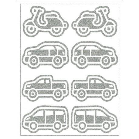 Reflexní nažehlovací potisk - Auta (8 ks)