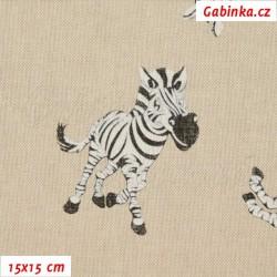 Režné plátno - Zebry, šíře 140 cm, 10 cm