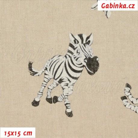 Režné plátno, Zebry, 15x15cm