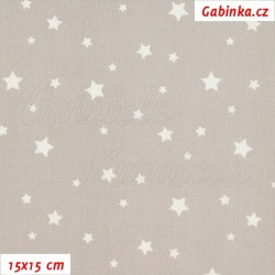 Plátno - Hvězdičky menší a větší na sv. šedé, šíře 150 cm, 10 cm