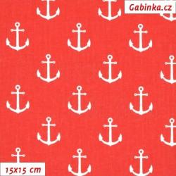 Plátno - Kotvy bílé na červené, šíře 160 cm, 10 cm