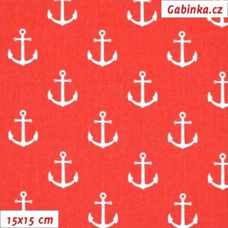 Plátno, Kotvy 2 cm bílé na červené, 15x15cm