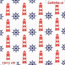 Plátno, Kormidla modrá a majáky červené na bílé, 15x15cm
