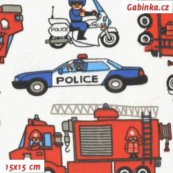 Plátno - Auta hasiči červení a policie modrobílá, šíře 160 cm, 10 cm