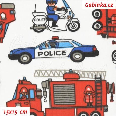 Plátno, Auta hasiči červení a policie modrobílá, 15x15cm