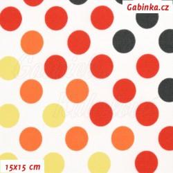 Kočárkovina Premium - Puntíky přecházející žluté oranžové červené a černé na bílé, šíře 160 cm, 10 cm, ATEST 1