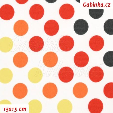 Kočárkovina Premium, Puntíky přecházející žluté oranžové červené a černé na bílé, 15x15cm