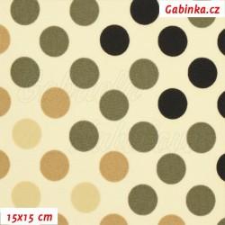 Kočárkovina Premium - Puntíky přecházející sv. hnědé, béžová a černé na smetanové, šíře 160 cm, 10 cm
