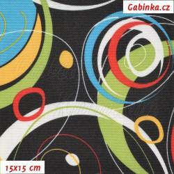Kočárkovin LESK, Energie zelená modrá bílá a červená na černé, 15x15cm