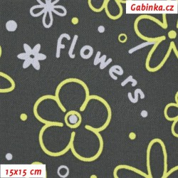 Kočárkovina MAT, Flowers sv. šedé a žluté na tm. šedé, 15x15cm