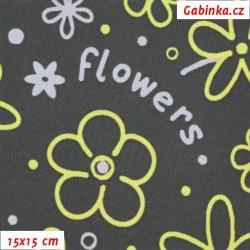 Kočárkovina MAT, Flowers - Kytky sv. šedé a žluté na tm. šedé, šíře 160 cm, 10 cm, Atest 1