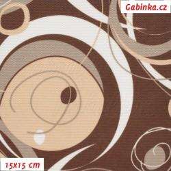 Kočárkovina, Energie - Bílá a sv. hnědá na tm. hnědé, 15x15cm