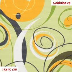 Kočárkovina, Energie sytě žlutá bílá a šedá na sv. zelené, 15x15cm