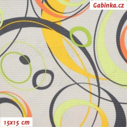 Kočárkovina, Energie oranžová tm. šedá a sv. zelená na sv. šedé, 15x15cm