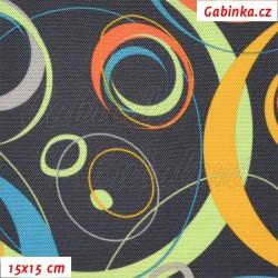 Kočárkovina, Energie oranžová sv. zelená sytě žlutá na tm. šedé, 15x15cm