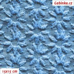 E - Kočárkovina Premium, Kytičky jeans modré, šíře 160 cm, 10 cm