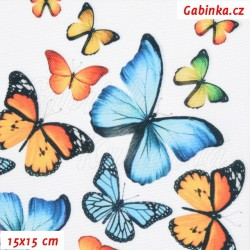Waterproof Fabric Premium - Orange and Blue Butterflies on White, width 155 cm, 10 cm, Certificate 1