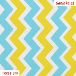 Plátno, Cik-cak žlutá mentolová a bílá, 15x15cm