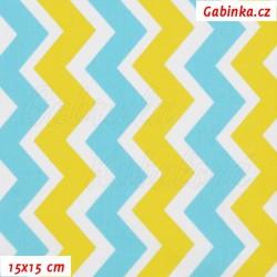 Plátno - Cik-cak žlutý mentolový a bílý, šíře 160 cm, 10 cm