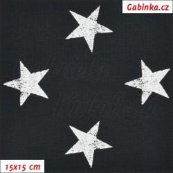Teplákovina s EL - Hvězdy 4 cm bílé žíhané na černé, šíře 145 cm, 10 cm