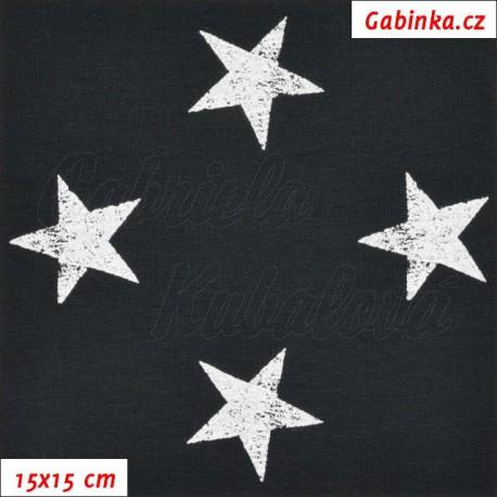 Teplákovina s EL, Hvězdy 4 cm bílé žíhané na černé, 15x15cm