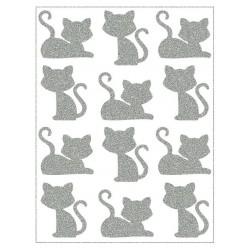 Reflexní nažehlovací potisk - Malé kočky sedící a ležící (12 ks)