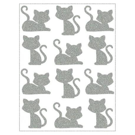 Reflexní nažehlovací postisk, Malé kočky sedící a ležící, 6+6 ks