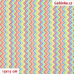 Plátno, MINI Cik-cak barevný, 15x15cm