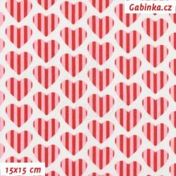 Plátno - Proužkovaná červená-růžová srdíčka na bílé, šíře 160 cm, 10 cm
