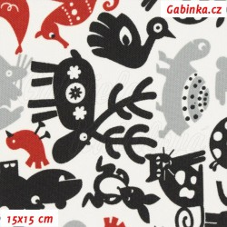 Kočárkovina MAT, Zvířátka se sobem černá šedá a červená na bílé, šíře 160 cm, 10 cm, Atest 1