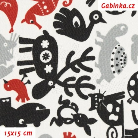 Kočárkovina, Zvířátka se sobem černá šedá a červená na bílé, 15x15cm
