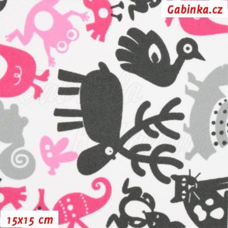 Kočárkovina, Zvířátka se sobem šedá a růžová na bílé, 15x15cm
