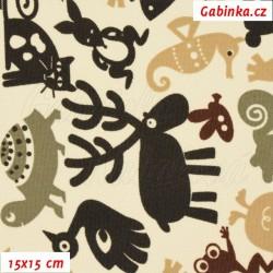 Kočárkovina MAT, Zvířátka se sobem tm. hnědá khaki béžová na smetanové, šíře 160 cm, 10 cm, Atest 1