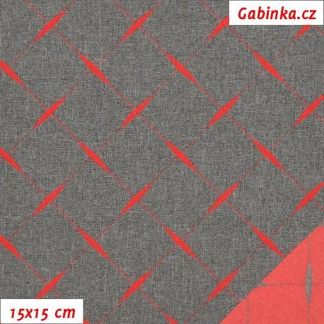 Kočárkovina žakár, prošívaný červený čtverec na šedém melíru, 15x15cm