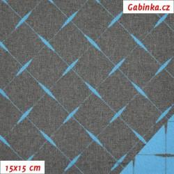 Kočárkovina žakár, Prošívaný modrý čtverec na šedém melíru, 15x15cm