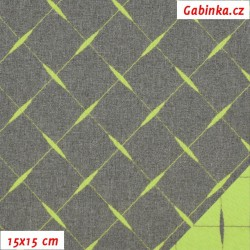Kočárkovina žakár - Prošívaný zelený čtverec na šedém melíru, šíře 160 cm, 10 cm, ATEST 1