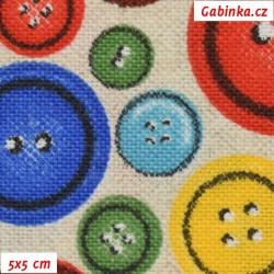 Režné plátno - Barevné knoflíky, šíře 140 cm, 10 cm