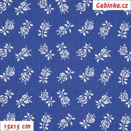 Plátno, Růžičky 2 cm bílé na tm. modré, 15x15cm