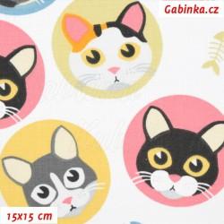 Plátno - Kočičky v kolečkách růžových, mentol na bílé, šíře 160 cm, 10 cm