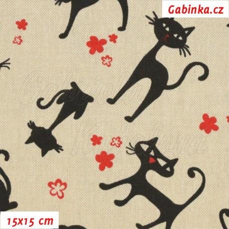 Režné plátno, Černé kočky 7 cm s kytičkami, 15x15cm