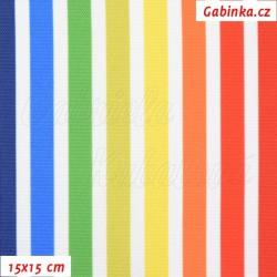 Kočárkovina Premium, Duhové proužky na bílé, šíře 160 cm, 10 cm, ATEST 1