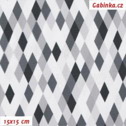 Kočárkovina Premium, Kosočtverečky černošedobílé, šíře 160 cm, 10 cm, ATEST 1