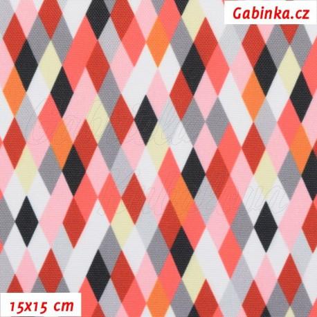 Kočárkovina Premium, Kosočtverečky červenošedobílé, 15x15cm